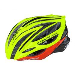 FORCE ARIES carbon kerékpáros sisak fluo-piros